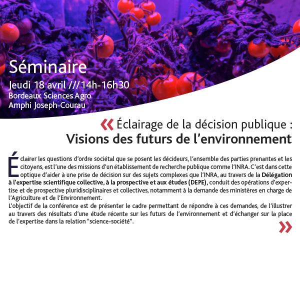 """18 avril : Séminaire """"Visions des futurs de l'Environnement"""""""